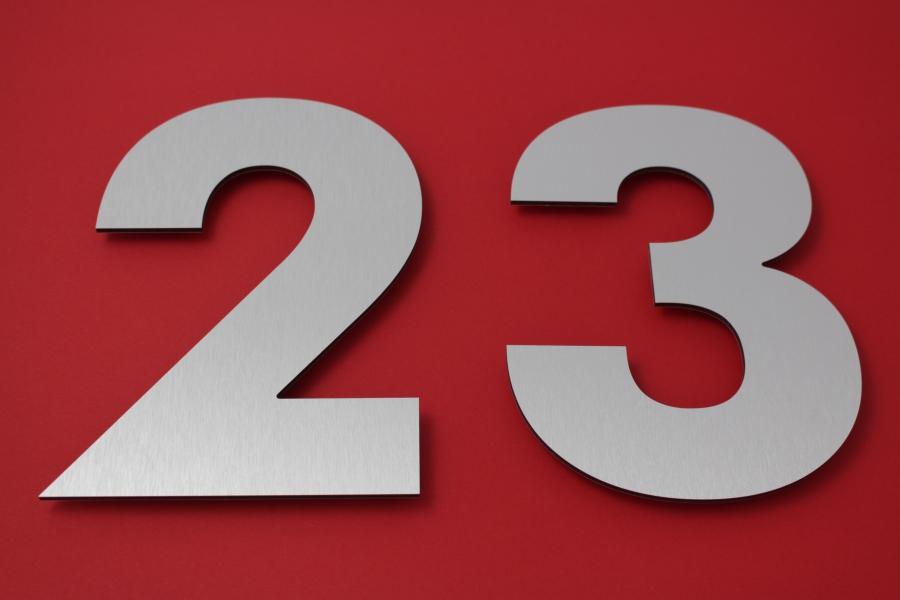 Edelstahl Hausnummer Anthrazit RAL7016 20cm hoch 6
